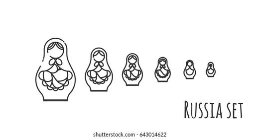 Black and white vector illustration of six matryoshka dolls