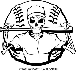 Black and white vector illustration of a skeleton baseball player with a bat over his shoulder and a baseball behind him.