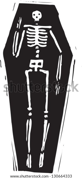 Black and white vector illustration of a skeleton