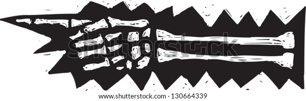 Black and white vector illustration of a skeleton hand