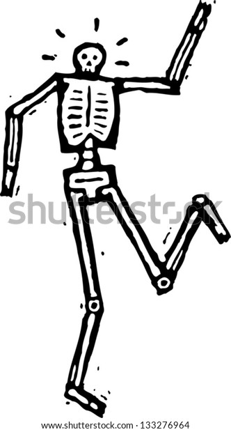 Black and white vector illustration of a skeleton dancing