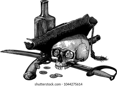 Black and white vector illustration with skull in ancient 'pirate' hat with sabre, pistol, bottle and few coins