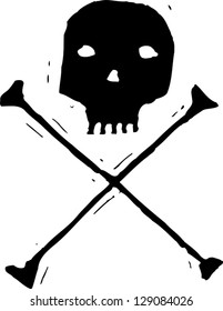 Black and white vector illustration of skull and crossbones