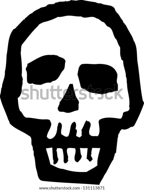 Black and white vector illustration of a skull