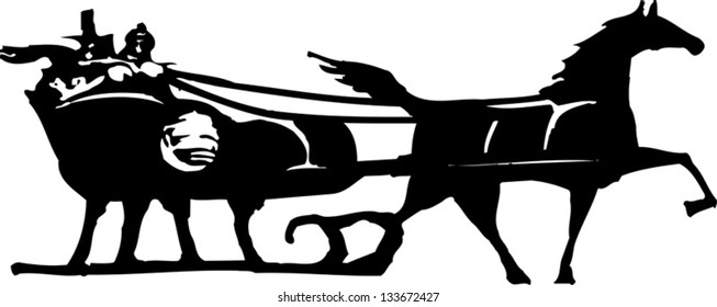 Black and white vector illustration of sleigh ride