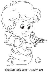 Black and white vector illustration of a smiling girl playing with her small parrot