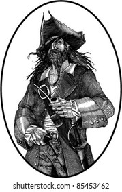 black and white vector illustration of smiling pirate engraving style