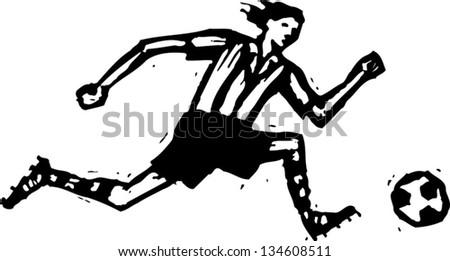 black white vector illustration soccer player stock vector royalty