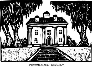 Black and white vector illustration of Southern plantation