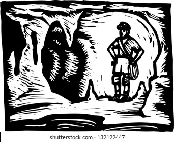 Black and white vector illustration of spelunker in cave
