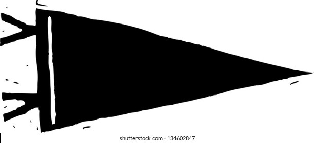 Black and white vector illustration of Sports Pennant