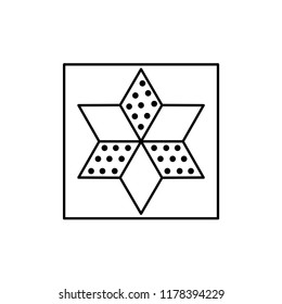 Black & white vector illustration of star quilt pattern. Line icon of quilting & patchwork geometric design template. Isolated object on white background.