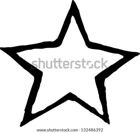 Black and white vector illustration of a star