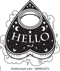 Black and white vector illustration sticker of heart shaped ouija planchette with Hello text, pearls stars clouds. Dark metal occult tattoo aesthetic, Halloween horror movie creepy mystic goth icon