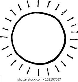 Black and white vector illustration of the sun