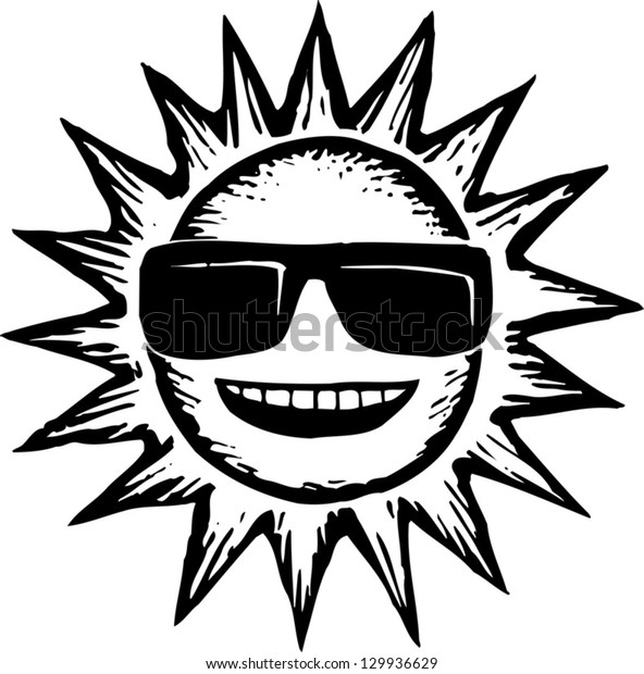 Black and white vector illustration of sun wearing sunglasses