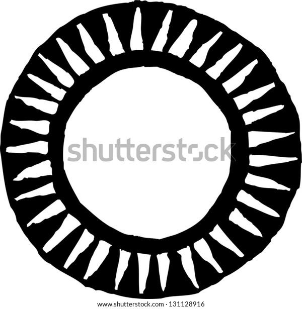 Black and white vector illustration of a sun