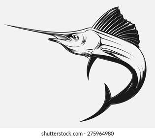 black and white vector illustration of a swordfish