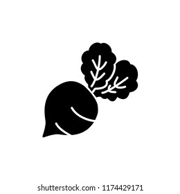 Black & white vector illustration of table beet vegetable. Flat icon of fresh organic garden beet veggie with leaves. Vegan & vegetarian food. Health eating ingredient. Isolated  on white background.