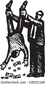 Black and white vector illustration of  a tax inspector