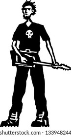 Black and white vector illustration of teen boy playing heavy metal electric guitar