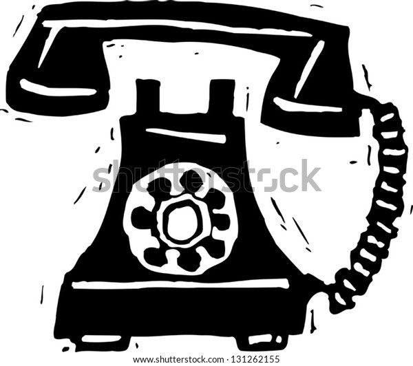 Black and white vector illustration of a telephone