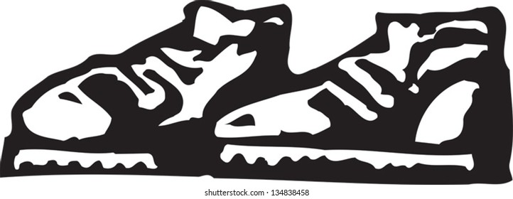 Black and white vector illustration of Tennis Shoes