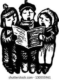 Black and white vector illustration of three children singing carols
