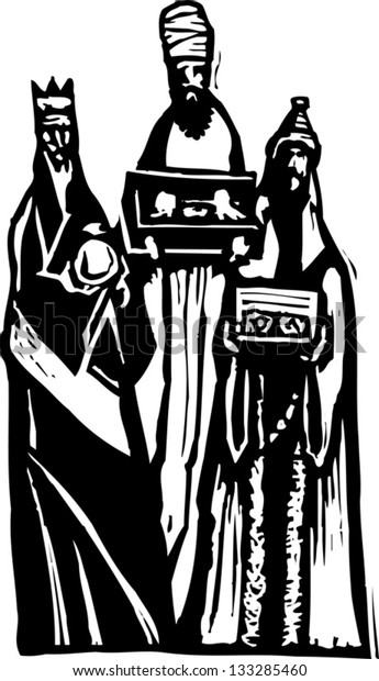 Black and white vector illustration of the three wise men