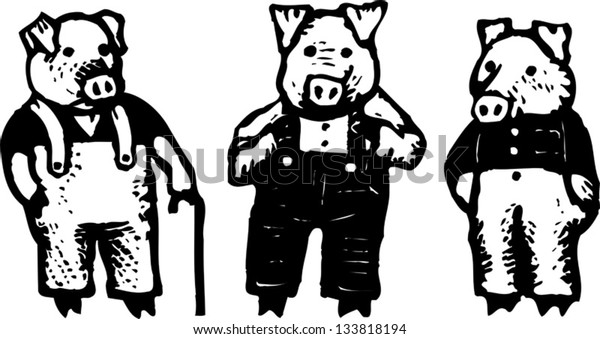 Black and white vector illustration of the three little pigs