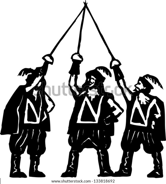 Black and white vector illustration of the three musketeers