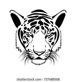 black and white vector illustration of a tiger head.