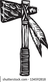 Black and white vector illustration of tomahawk