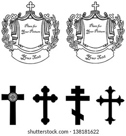 Black and white vector illustration of tombstone with four different vintage stone cross with heraldic elements. Easy to edit.