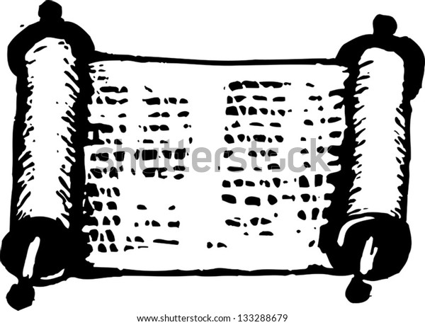 Black and white vector illustration of Torah scroll