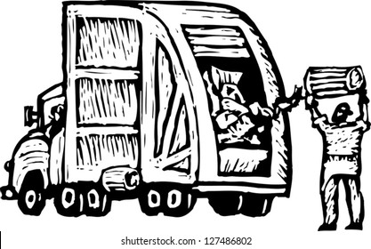Black And White Vector Illustration Of Trash Man Dumping Into Garbage Truck