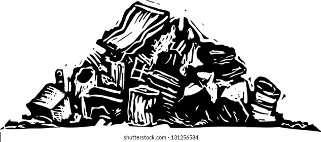 Black and white vector illustration of trash