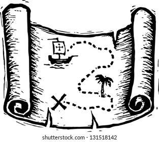 Black and white vector illustration of treasure map