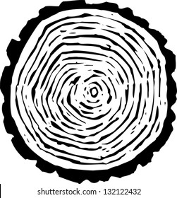 Black and white vector illustration of tree rings