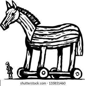 Black and white vector illustration of Trojan horse