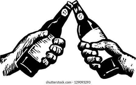 Black and white vector illustration of two hands toasting with beer