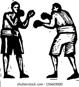 Black and white vector illustration of two men boxing