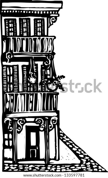 Black and white vector illustration of an urban building