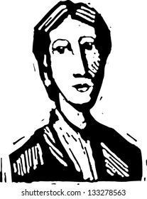 Black and white vector illustration of Virginia Woolf
