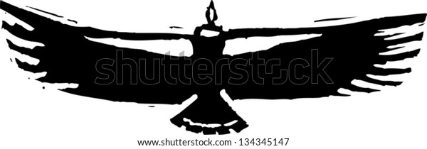 Black and white vector illustration of a vulture or condor
