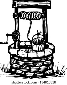Black and white vector illustration of Water Well