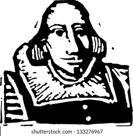 Black and white vector illustration of William Shakespeare