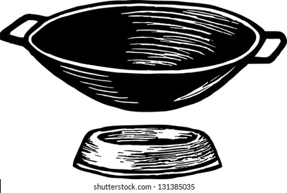 Black and white vector illustration of a wok