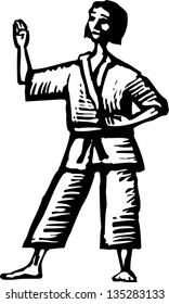 Black and white vector illustration of Woman Practicing Martial Arts