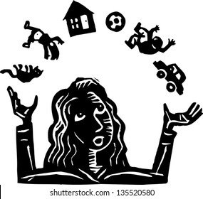 Black and white vector illustration of a Women Juggling Responsibilities